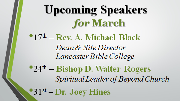 list of speakers for the month of March