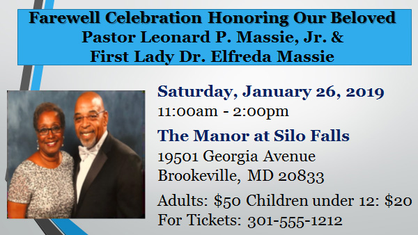 Pastor Massie Farewell Luncheon Information slide