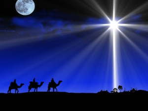 Three Wisemen going to the Manger