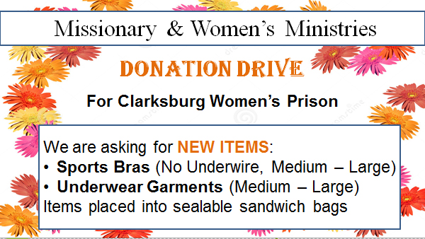 donation drive for Clarksburg Women's Prision